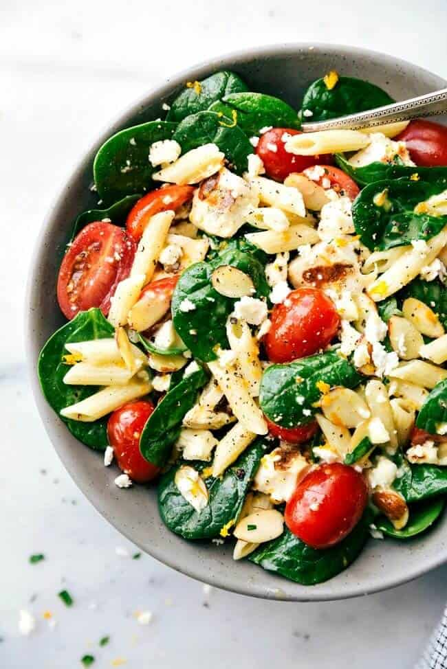 healthy pasta salad with spinach