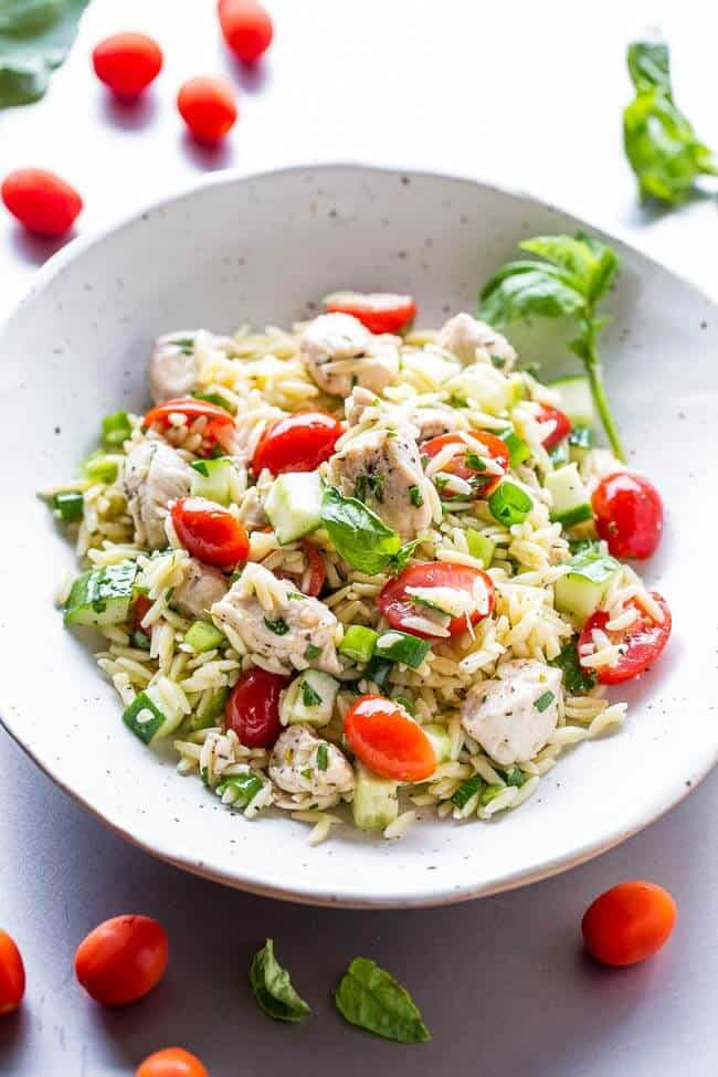 healthy pasta salad with orzo